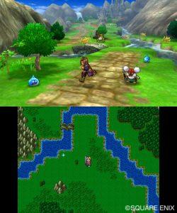 Le prologue de Dragon Quest XI : Echoes of an Elusive Age 3DS permet de jouer avec les deux versions du jeu d'affichées simultanément.