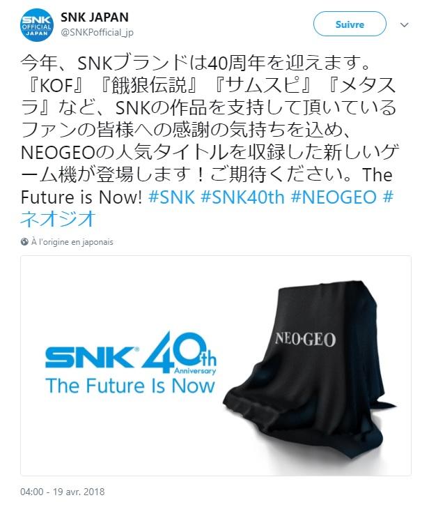 snk annonce Neo-Geo Mini