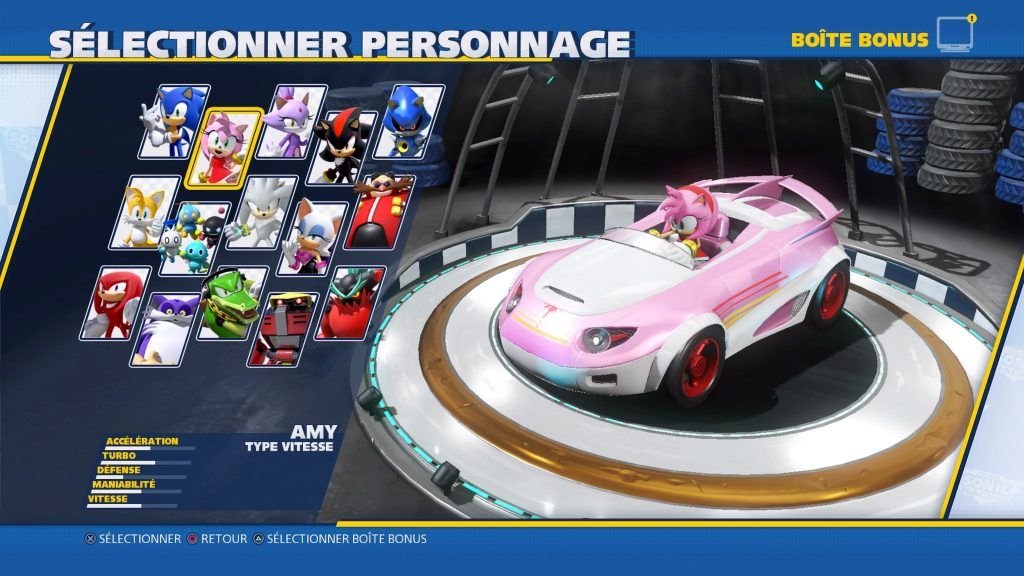 Team Sonic Racing sélection personnages